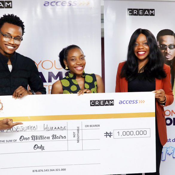 L-R. Osita Philips of CREAM, inviting Miss Wuraade Adejumobi fifth winner of the draw to the stage to select the next winner at the live weekly draw.