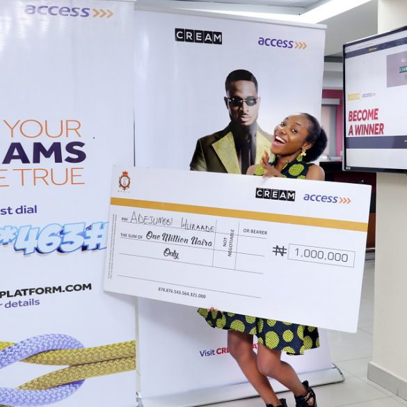 Miss Wuraade Adejumobi, fifth winner with her N1milloin cash prize at the live weekly draw.