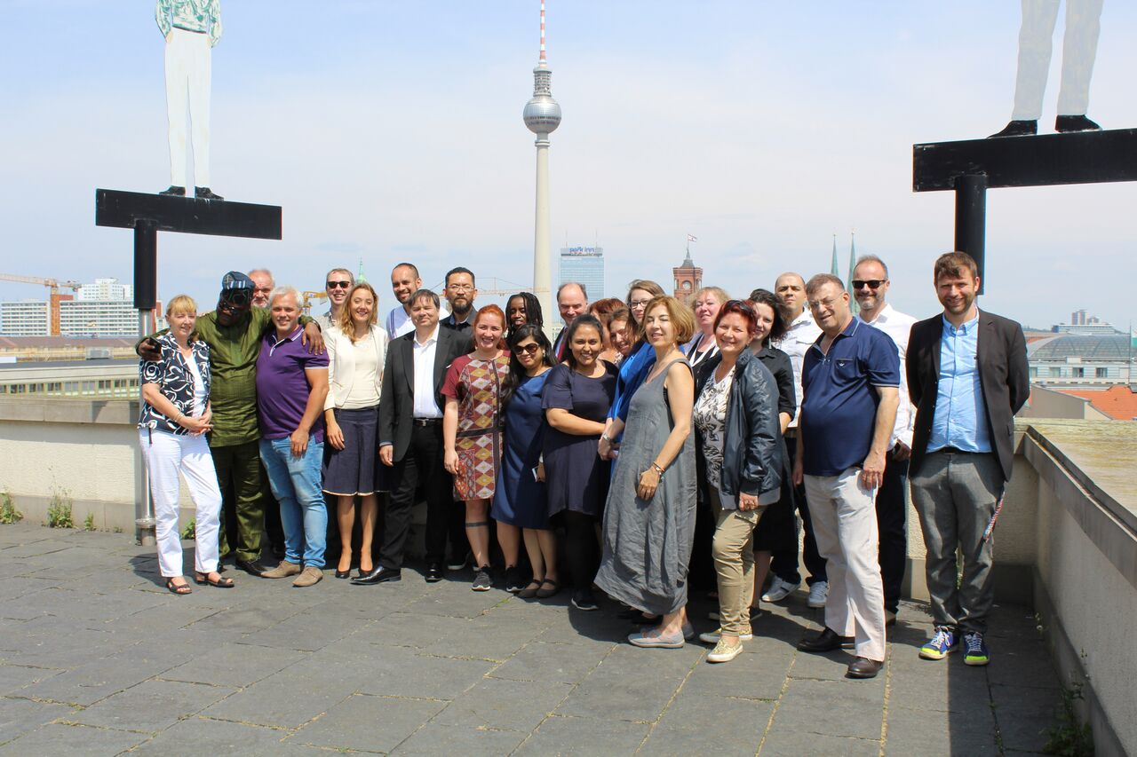 participants with hosts members of the German Federal Foreign Office After Lunch At The Roof Of The International Club Berlin
