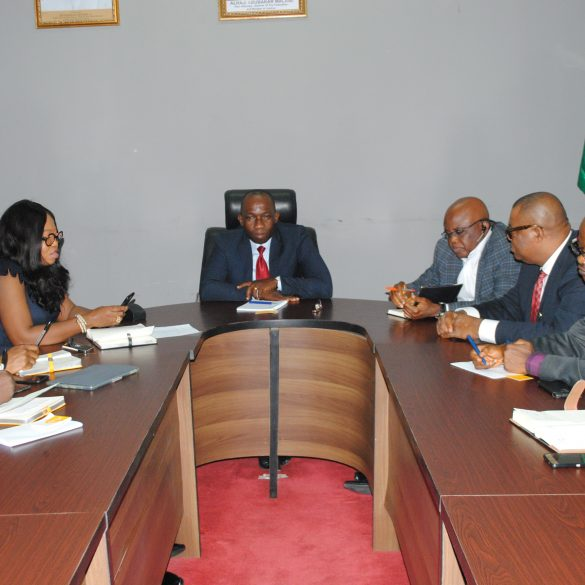 5. DG, NCC, Mr. John Asein (M) at a meeting with the General Manager, MTN Commercial Legal Corporate Services Division, Mrs Ifeoma Utah (3rd L); the Manager, Regulatory Government, MTN Nigeria, Mr. Anas Galadima (1st L) and Advisor, Legal, MTN Nigeria, Mr. Chukwukaelo Ajuluchukwu (2nd L). on the right are: (R-L) Director, Administration, NCC, Mr. Idowu Ogunkuade; Director, Finance and Accounts, NCC, Mr. Mark Obasi; and Director, Legal Services, Abdul Ter Kohol, Esq.