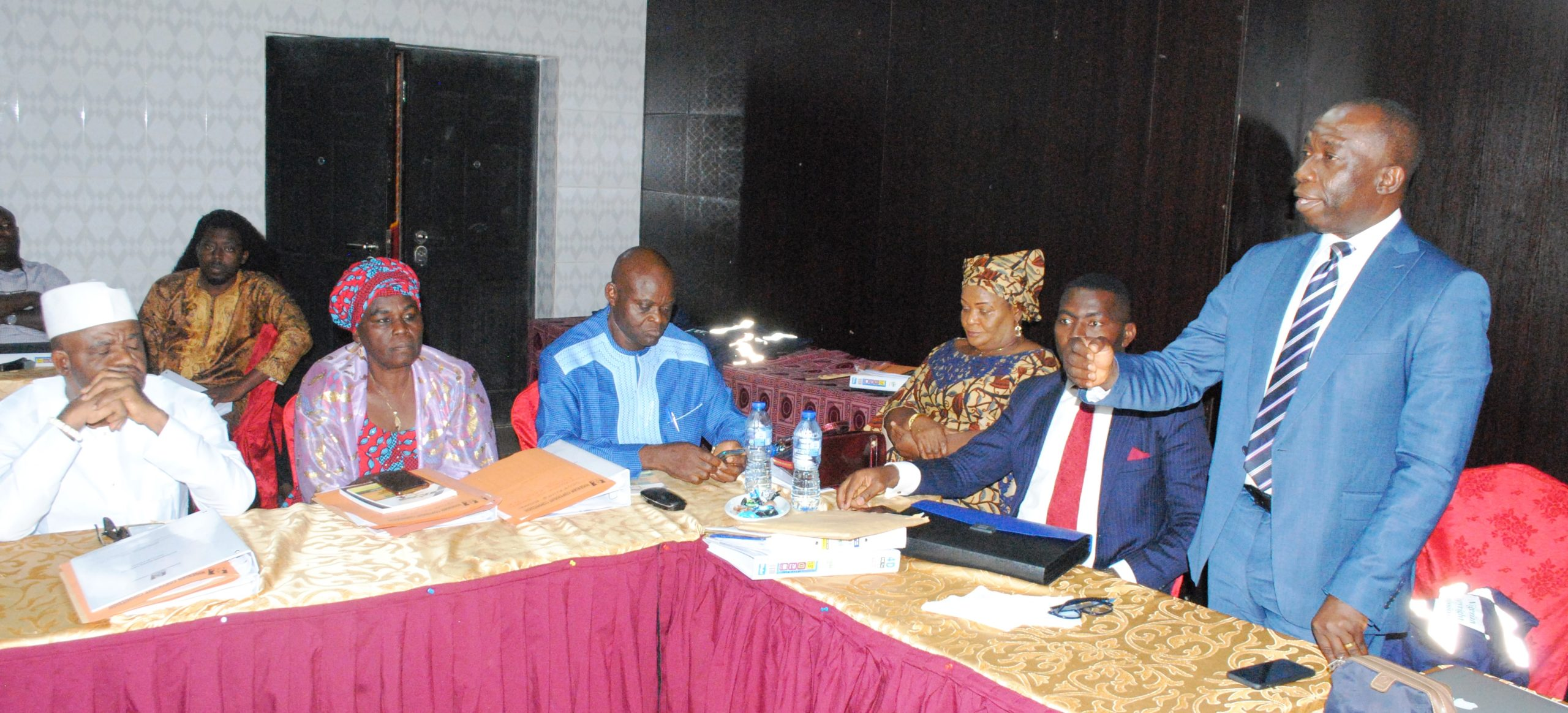 Director-General, Nigerian Copyright Commission (NCC), Mr. John O. Asein, addresses NCC Board members on significancethe Special Copyright Inspectors (SCI) initiative while the Board Chairman, Dr. Tonye Clinton Jaja (2nd R) and other Board members listen.