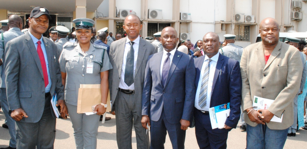 Director-General, NCC, Mr. John O. Asein (3th L) flanked (L-R) by NCC Director, Public Affairs, Mr. Vincent A. Oyefeso; Technical Officer, Intellectual Property Rights Unit, NCS, MrsChiomaAsoziri; NCC Director, Prosecution, Mr. Obi Ezeilo; NCC, Director, PRS, Mr. Mike Akpan and NCC Director of Enforcement, Mr. Augustine Amodu, at the 2020 International Customs Day celebration in Abuja